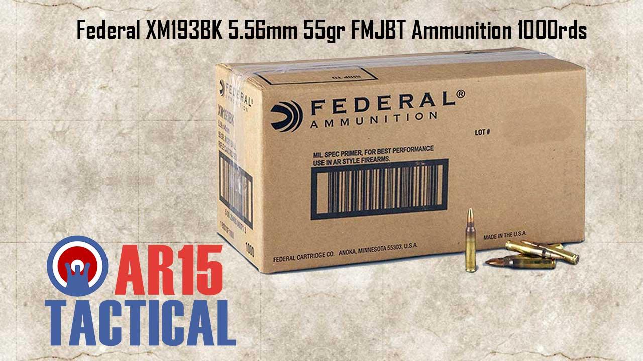 Federal 5.56mm 55gr FMJBT Ammunition 1000rds Loose Pack XM193BK